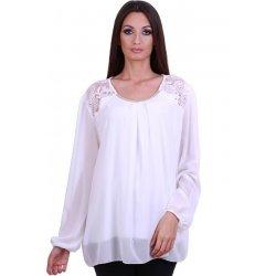 Бяла блуза макси размер
