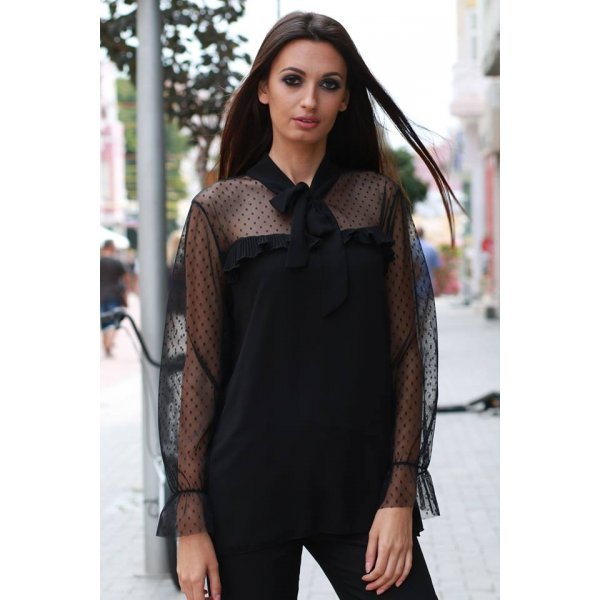Черна официална блуза Дебора