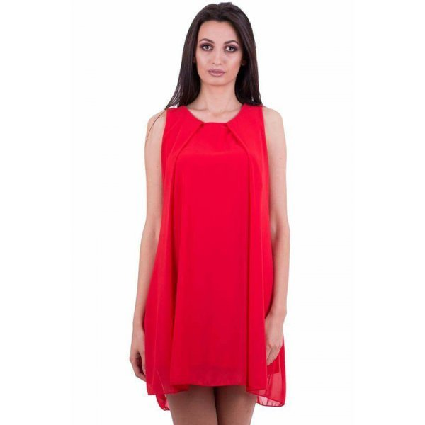 Червена рокля от шифон