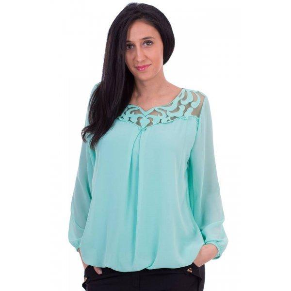 Шифонена блузка цвят мента