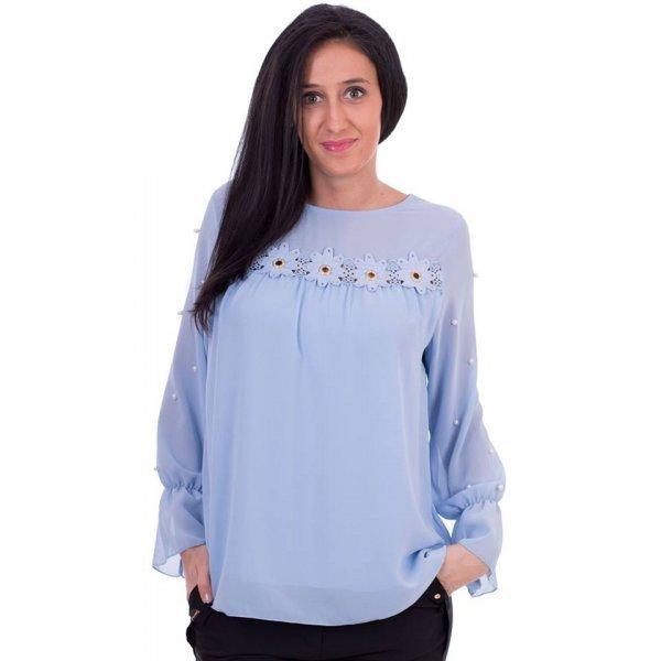 Светло синя блуза от шифон
