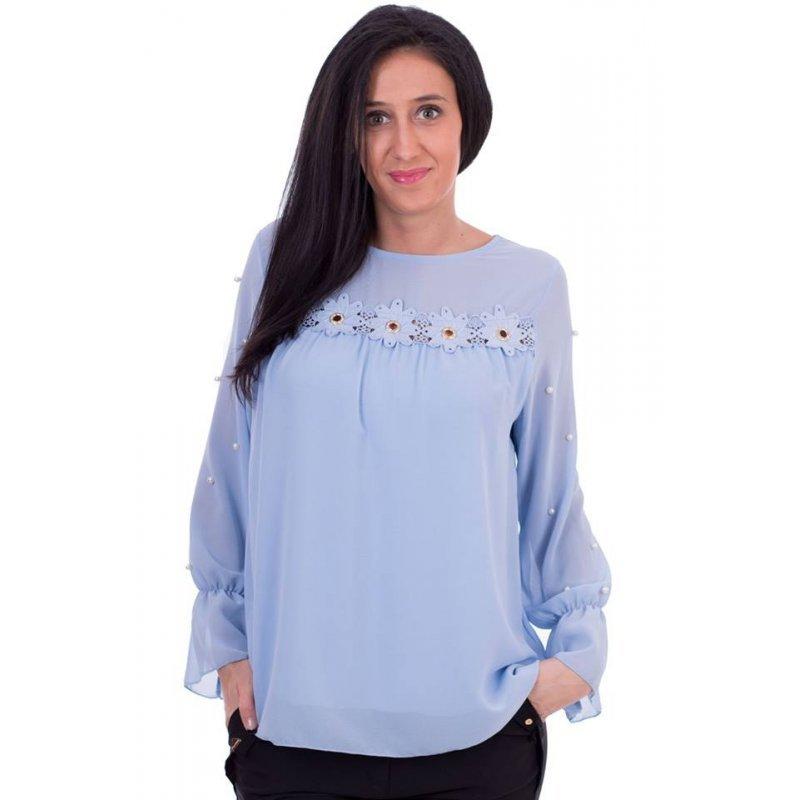 70775848b63 Светло синя блуза от шифон с цветя и перли