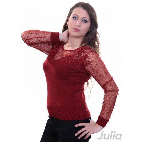 Плетена блуза с тюл