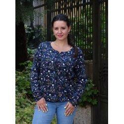 Блуза с дълъг ръкав цветя