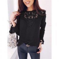 Черна блуза с дантела Михаела