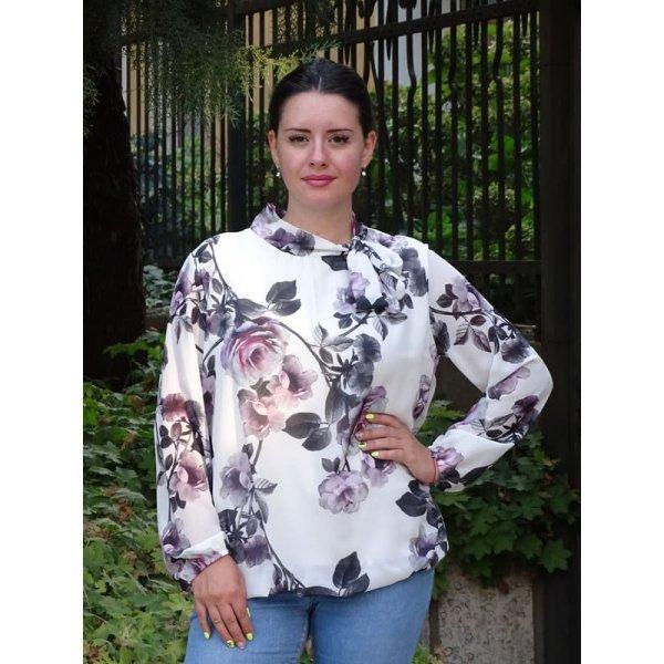 Официална блуза на цветя