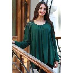 Тъмно зелена официална блуза