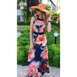 Дълга рокля с принт на цветя