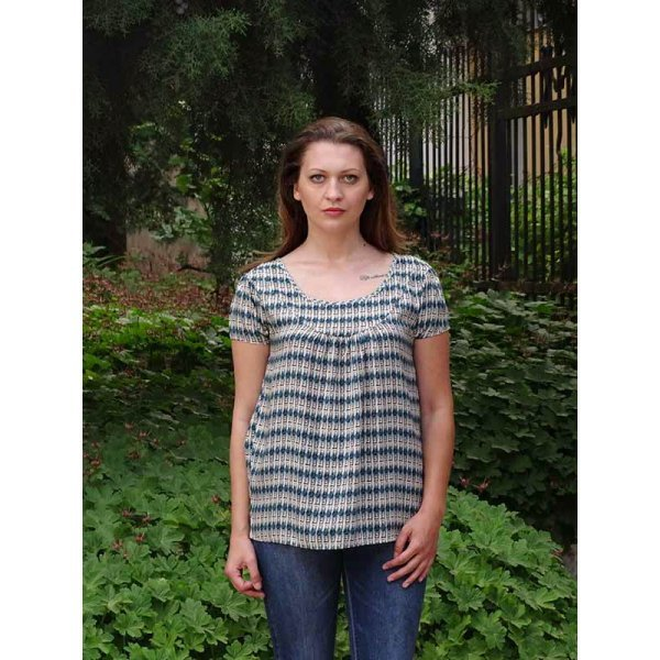 Памучна блуза с къс ръкав