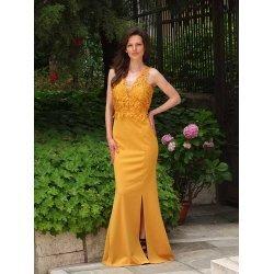 Официална рокля цвят горчица