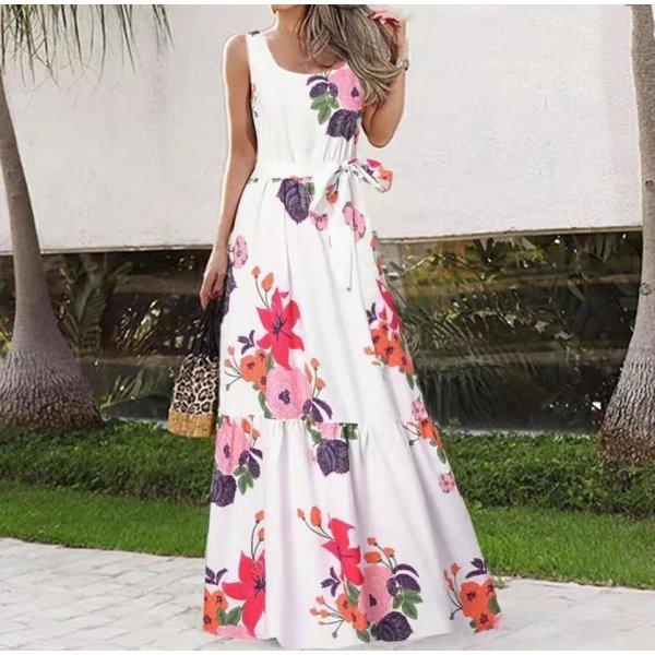 Дълга бяла рокля на цветя