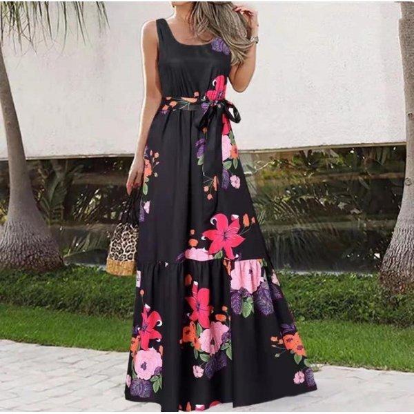 Дълга лятна рокля на цветя Мирела
