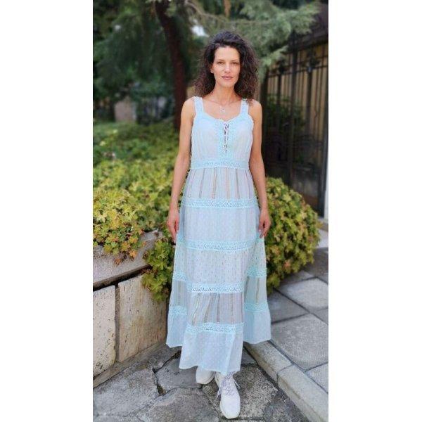 Дълга памучна рокля с волани