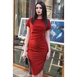 Елегантна тъмночервена рокля