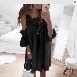 Свободна черна лятна рокля