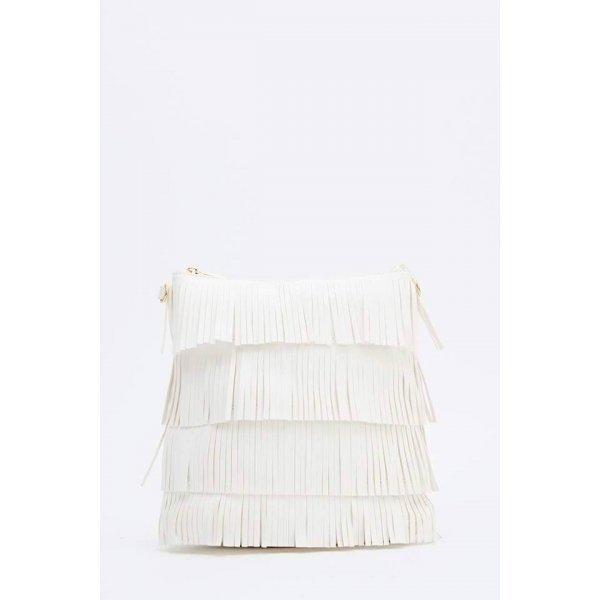 Бяла чанта с дълга дръжка