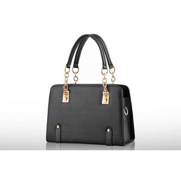 Черна чанта с дръжка с вериги