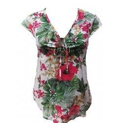 Памучна блузка с къс ръкав