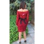 Дантелена рокля цвят бордо