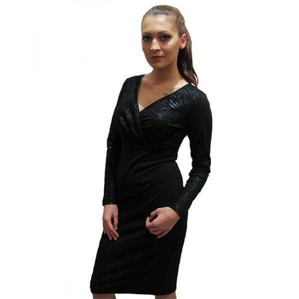 Дамска елегантна рокля с дълъг ръкав
