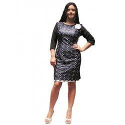 Елегантна дамска рокля комбинация с кожа