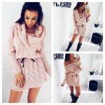 Плетена зимна рокля розова