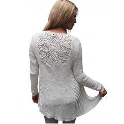 Бяла жилетка с ажурен гръб