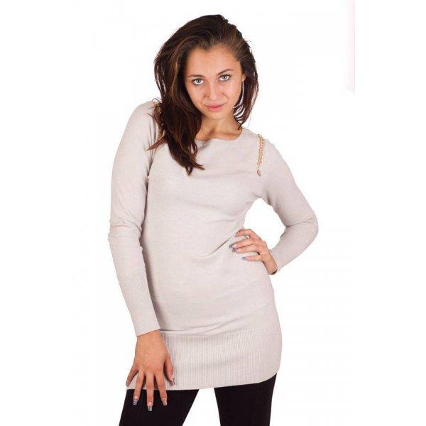 Бежов плетен дамски блузон