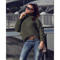 Плетен пуловер войнишко зелен