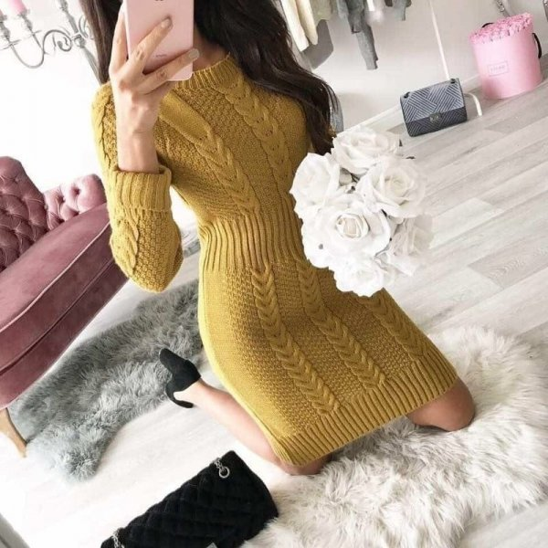 Плетена рокля горчица
