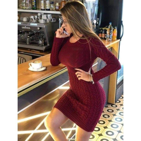 Плетена рокля цвят бордо