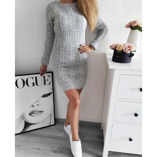 Плетена рокля сива
