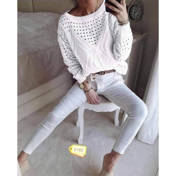 Бяла плетена блуза