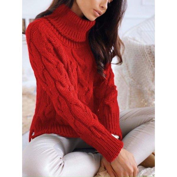 Червен зимен пуловер