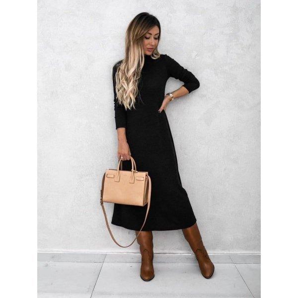 Черна плетена рокля поло