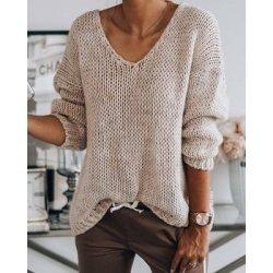 Дамски плетен пуловер бежов