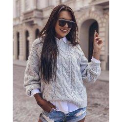 Дамски плетен пуловер сив