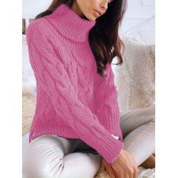 Плетен розов пуловер