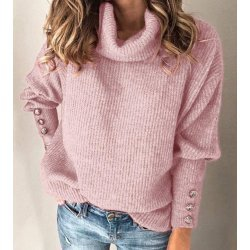 Плетена блуза розова шал яка