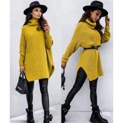 Пуловер-туника горчица