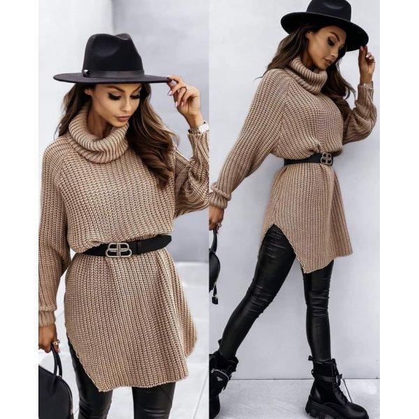 Пуловер-туника цвят капучино