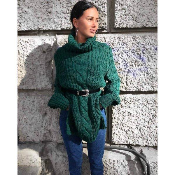 Дамски зимен пуловер зелен