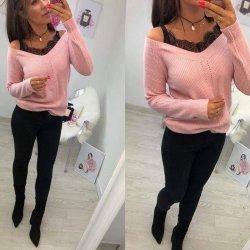 Плетена блуза розова