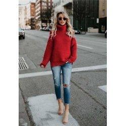 Дамски червен пуловер