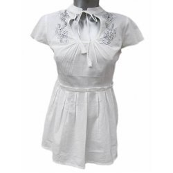 Бяла памучна блузка