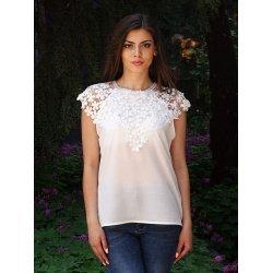 Бяла блузка с къс ръкав