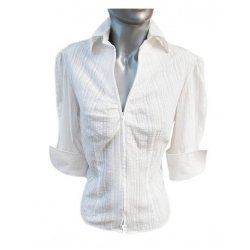 Бяла риза с цип