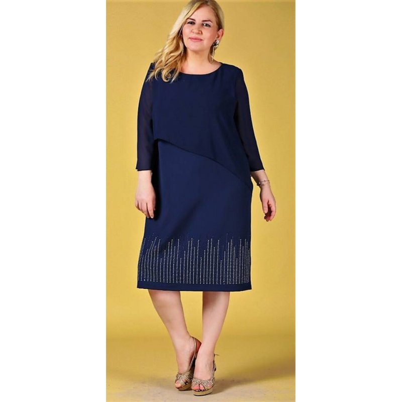 71709d4f54b Официална макси рокля тъмно синя