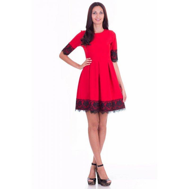 Елегантна червена рокля с къс ръкав и черна дантела с басти купете ... 82993430c11