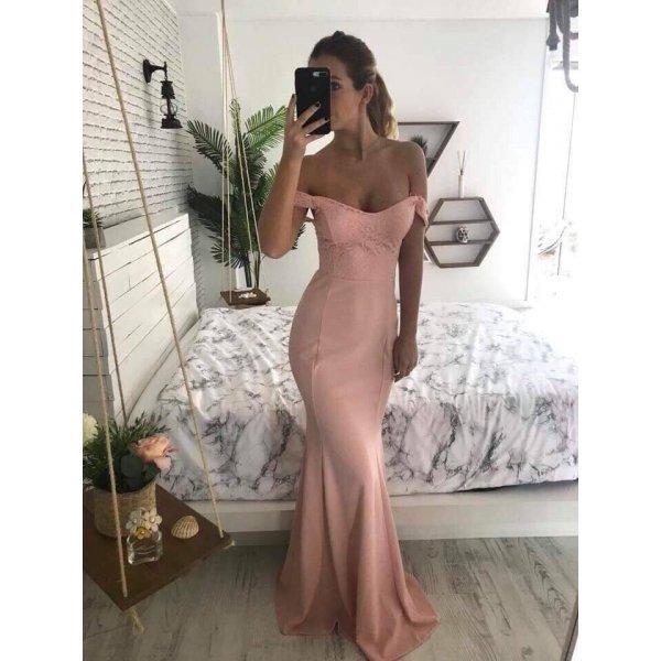 Розова официална рокля русалка